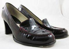 MICHAEL KORS BAYVILLE PENNY LOAFERS Deep Red Patent Leather HEELS PUMPS 7.5 #MichaelKors #PumpsClassics