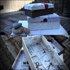 caixas de sapatos decoradas com tecido