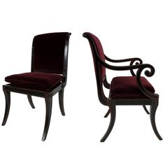 Set of Four Regency style Dining Chairs by Baker Furniture | From a unique collection of antique and modern dining room chairs at https://www.1stdibs.com/furniture/seating/dining-room-chairs/