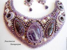 """seturi complete de bijuterii lucrate manual.  Set """"Lotus"""".  Anastasia Banshchikova.  Masters corecte.  Cercei, bijuterii violet, cercei mov"""