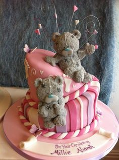 Adorable christening cake with me to you bears Alice In Wonderland Cakes, Teddy Bear Cakes, Fondant, Friends Cake, Baby Shower Cakes For Boys, Adult Birthday Cakes, Character Cakes, Cake Boss, Occasion Cakes