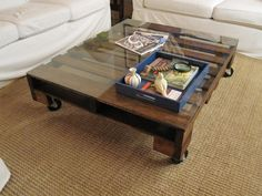 repurposed wooden pallet- coffee table? Beautiful. My next pinterest project!!!