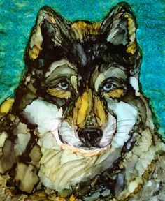 Wolf in alcohol ink by me, Laurie Henry. Copyright 2013.