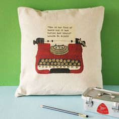 Personalised Vintage Typewriter Cushion - Perfect for the home of a nostalgic English degree graduate.