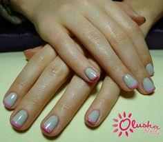 manicure dwukolorowy, kolorowy french, modny manicure, manicure Kraków