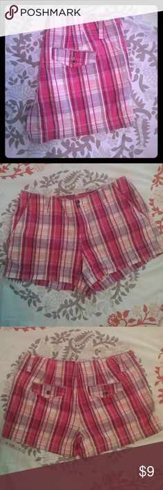 "Cute Plaid Shorts Shirts with pink, purple, white, and tan plaid. Measures 12"" from top of waistband to bottom hem in front. Excellent condition. Smoke and pet free home. Sonoma Shorts"