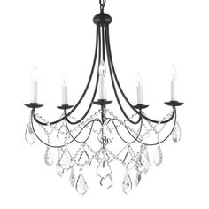 Versailles 5-light Wrought Iron and Crystal Chandelier - Overstock™ Shopping - Great Deals on Gallery Chandeliers & Pendants
