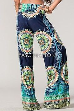 Sexy-Navy-Blue-Fold-Over-Wide-Leg-Hippie-Tribal-Palazzo-Yoga-Tall-Pants-S-M-L