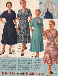 Spring and Summer 1955 Lane Bryant Lily Elsie, 1940s Fashion, Vintage Fashion, Vintage Dresses, Vintage Outfits, Fashion Through The Decades, Dressy Dresses, Fashion Tips For Women, Beautiful Outfits