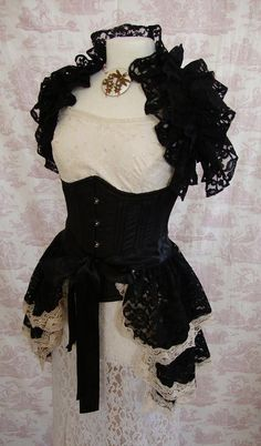 Gothic Lace Bustle Skirt Burlesque Victoriana Steampunk BOCCA BACIATA Vintage Lace Victorian Decadence By Ophelias Folly. $85.00, via Etsy.