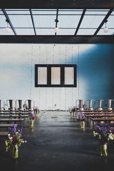 industrial wedding ceremony, photo by Chaz Cruz Indoor Wedding Ceremonies, Indoor Ceremony, Wedding Ceremony Decorations, Wedding Ideas, Wedding Blog, Brooklyn Wedding Venues, Industrial Wedding, Marie, Backdrops