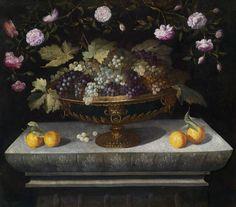 Bernardo Polo (active1650-c.1675) — Bowl of Fruit with Grapes, Oranges and Roses