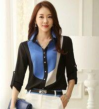 Wish   Casual Blouse Shirt Plus Size Camisas Femininas Women Blue & Black Clothing Blusas Roupas Classical Chiffon Shirt Tee Top