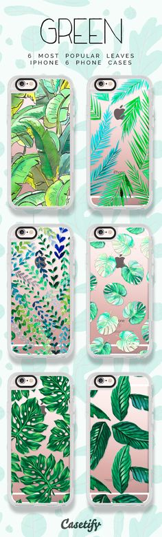 6 most popular green leaves iPhone 6 protective phone case designs | Click through to see more iPhone phone case ideas >>> https://www.casetify.com/artworks/fjdFOMDCB5 #gardenart | @casetify