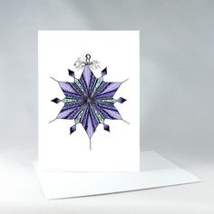 Frozen Ornament Blue Card Fun Holiday Card Hand by KateKreatesArt