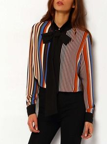 Multicolor Tie Neck Vertical Striped Blouse