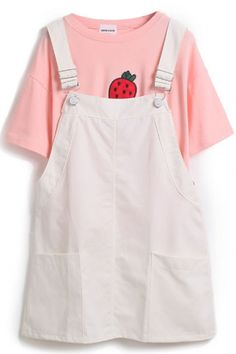 Fresh Plain Sleeveless Straps Dress with Double Pocket