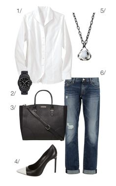 classic and chic style: jeans, a white button down shirt, and heels // click through for outfit details