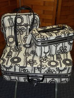 Supposedly designed by Marimekko for Samsonite in the totally sure about that claim, but I have the train case and sure would like more.