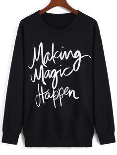 Black Round Neck Letters Print Loose Sweatshirt 16.14