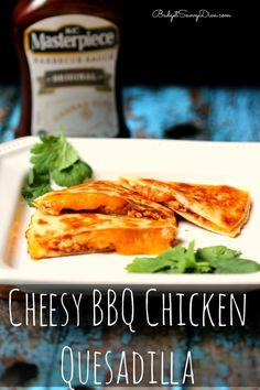 SUPER Cheesy and EASY to make Quesadilla - VERY kid friendly and done in under 10 minutes - perfect snack. Cheesy BBQ Chicken Quesadilla Recipe #quesadilla #recipe #cheese #BBQ #easyrecipe #snack #chicken #budgetsavvydiva via budgetsavvydiva.com