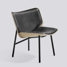 Dapper Lounge Black powder coated steel base Matt lacquered oak shell w. front upholstery Silk/SIL0 - HAY