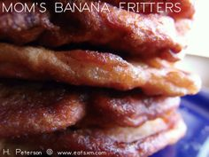 From Our Kitchen: Moms Banana Fritters Banana Fritters, Pork, Beef, Chicken, Kitchen, Kale Stir Fry, Meat, Cuisine, Baked Plantains