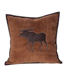 Channeled Fleece Brown Moose Pillow