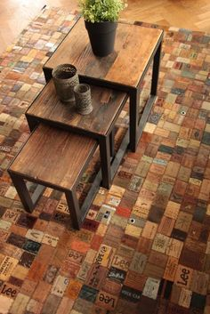 craft ideas to recycle jeans and leather labels for floor carpets, poufs, curtains, decorative pillows and home organizers