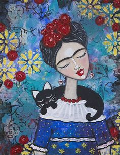 Frida with Cat - Kara Bullock - 2015