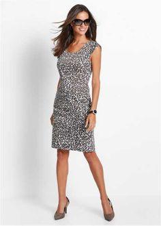 Платье-футляр, bpc selection, бурый/темно-коричневый/белый