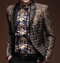Fancy Retro Mens Paisley Blazer Floral Tan Black Elegant Style | www.pilaeo.com #men's #luxury #fashion