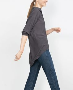 CAMISA OVERSIZE LARGO DESIGUAL-Ver todo-Camisas-MUJER | ZARA Colombia
