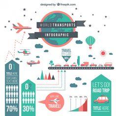 Mundial transporta infográfico Vetor grátis