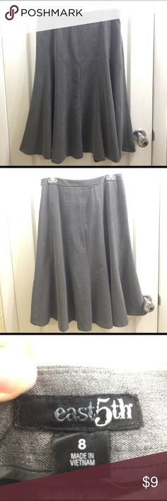 """Gray Trumpet Skirt by East 5th Graceful skirt in a modest length. Side zipper with hook and eye closure. Waist is 15"""" and length is 27"""". Good used condition although the inside hem looks a little messed up. (See 4th picture). Feel free to make a reasonable offer. Not sure what's reasonable? Check out the chart at the top of my closet ☺ East 5th Skirts Midi"""