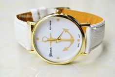 Fashion handmade leather watches,best gift of friendship. Leather Watch Gold Anchor Watch Nautical Anchor by BeautifulShow, $9.00