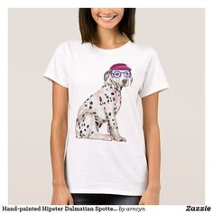 Tee featuring a hand-painted hipster dalmatian. Original illustration by Cynthia Bauzon-Arre. View my illustration process at instagram.com/arncyn