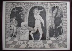 Antonio BONILLA : Detalle del tríptico de nuestra cotidianidad ; Junio y Julio 1983 ; tinta sobre papel ; tríptico abierto : 53cm x 140cm ; colección MDAA (adquirido en 2 partes : en Febrero y Mayo 1993 del artista)