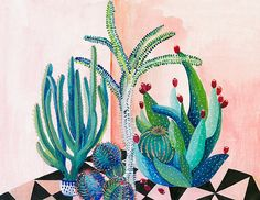 Cactus backyard  illustration  glicee print by artandpeople