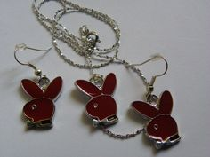 Dangle Red Playboy Bunny Earring & Necklace Set  11 by ritascraftsandmore on Etsy