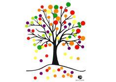 Pour réaliser cet Arbre d'automne en gommettes, il faut, télécharger et imprimer le dessin arbre, il suffit de coller les gommettes rondes au bout des branc
