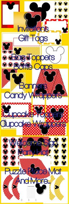 Mickey Mouse Inspired Printable Party Supplies - Mouse Party Red - $15.99 : ScrapPNG, Digital Craft Graphics