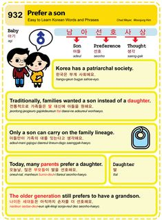 Easy to Learn Korean 932 - Prefer a son. Chad Meyer and Moon-Jung Kim EasytoLearnKorean.com An Illustrated Guide to Korean