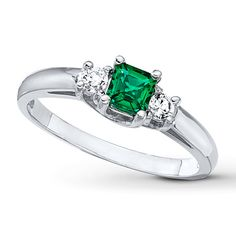 Lab-Created Emerald Lab-Created Sapphires 10K White Gold Ring