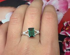 Engagement Ring 2 Carat Green Tourmaline Ring by stevejewelry