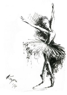 Original painting Dancing Ballerina Ink by AnyasArtworks on Etsy