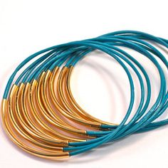 Leather Bangles Turquoise now featured on Fab.
