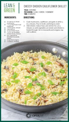 You had me at cheesy chicken! Try Stacey Haw… Cheesy Chicken Cauliflower Skillet. You had me at cheesy chicken! Try Stacey Haw… Medifast Recipes, Diet Recipes, Chicken Recipes, Cooking Recipes, Healthy Recipes, Lean Recipes, Cooking 101, Lean Protein Meals, Gourmet