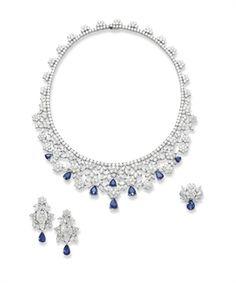 SUITE OF SAPPHIRE AND DIAMOND JEWELLERY