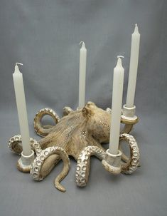 Nautical Ceramic Octopus Candelabra by Shayne Greco Beautiful Shabby Chic Mediterranean Sculpture Pottery Octopus Decor, Octopus Art, Mediterranean Sculptures, Clay Pipes, Teen Decor, Personalized Candles, Christmas Gifts For Women, White Gift Boxes, Ceramic Clay